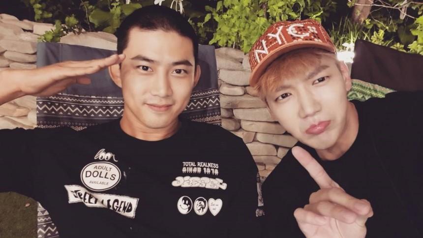 2PMメンバーでは既に入隊しているオク・テギョン (左) Jun.K (右)