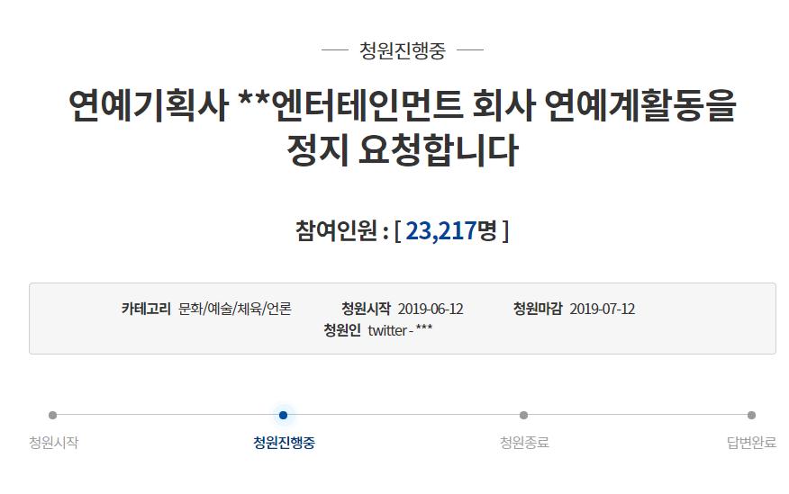 韓国大統領府 請願掲示板 YG